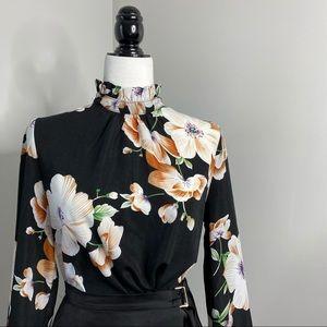 3/$30 SHEIN Black Ruffle Mockneck Floral Blouse M